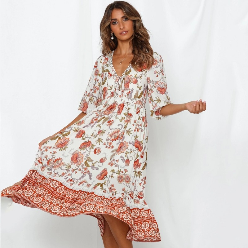 DeRuiLaDy 2020 Women <font><b>elegant</b></font> Floral Print Summer <font><b>Long</b></font> <font><b>Dress</b></font> <font><b>Sexy</b></font> V Neck Lace Up Maxi <font><b>Dresses</b></font> Female Causal Beach Vestidos image
