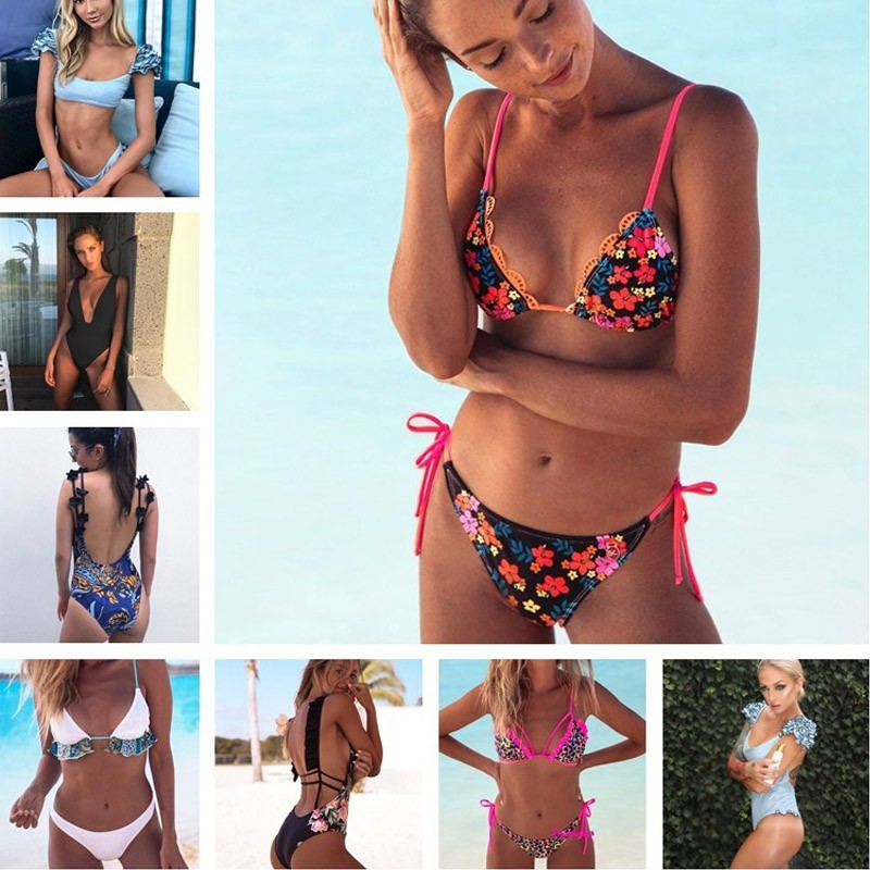 Swimming Official Website Cputan Swimwear 2019 Bandeau Bikini Set Print Thong Swimsuit Women Bathing Suit Female Push Up Biquini Beachwear Ruffle Bottoms Sports & Entertainment