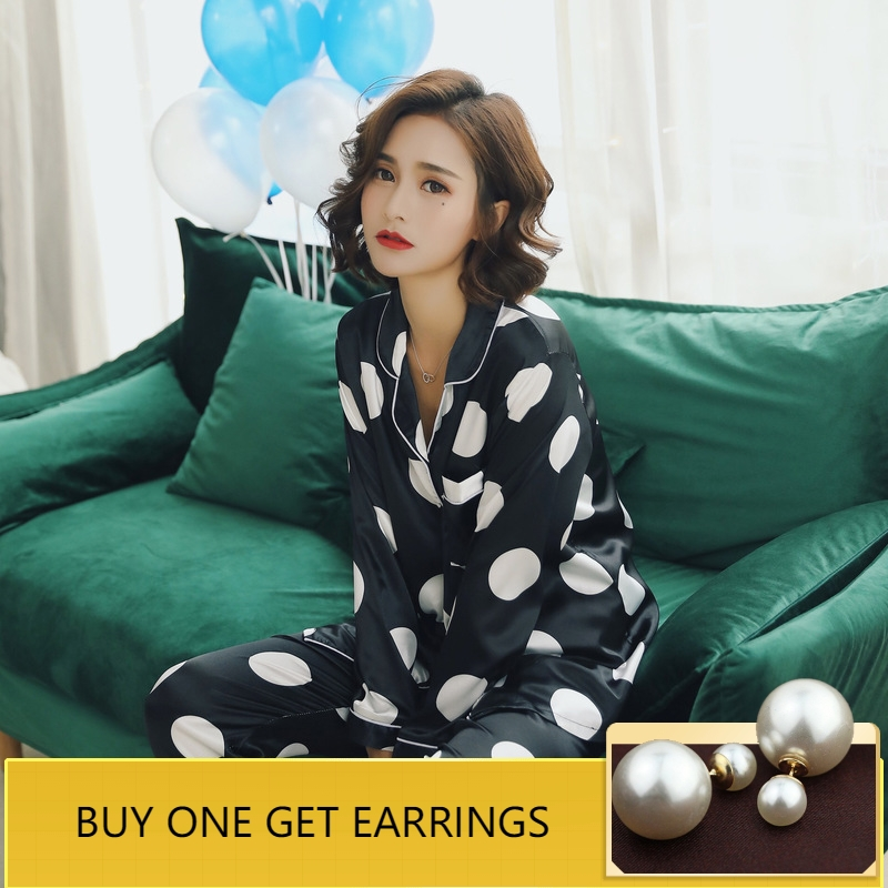 QWEEK Women Sleepwear 2019 Spring Satin Women   Pajamas     Sets   Dot Print Long Sleeve Silk Pyjama Femme Fashion Home Wear Nightwear