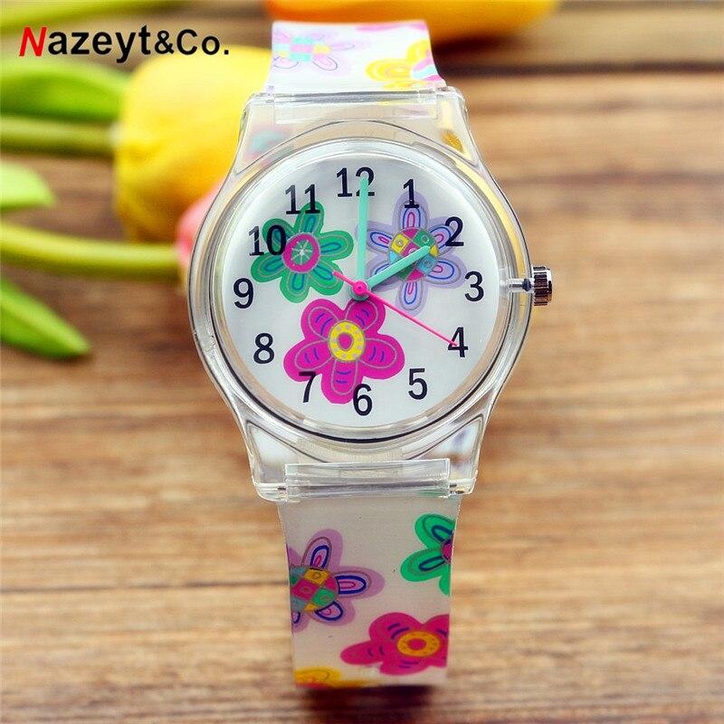 New Fashion Women Quartz Watch Colorful Dial Middle Student Girls Flower Heart Face Silicone Children Jelly Watch Reloj Femenino