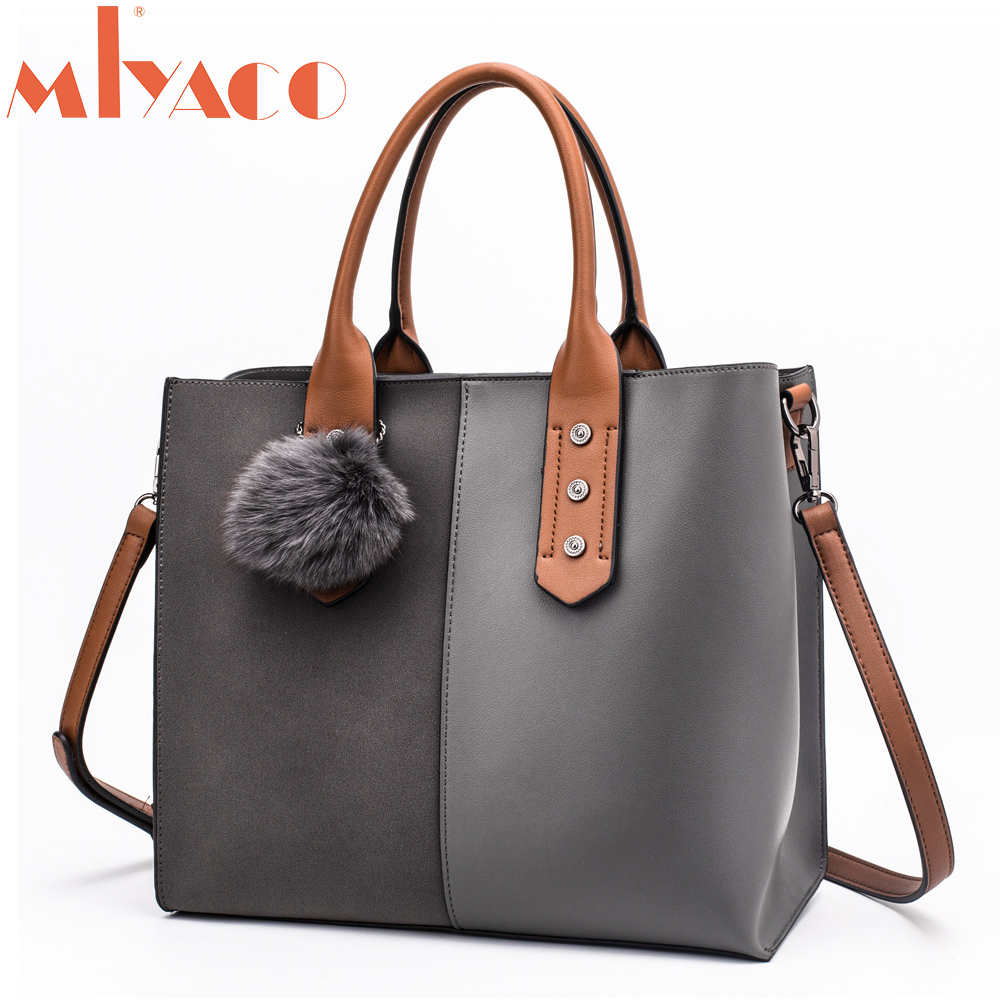 MIYACO Leather handbags Women Casual tote bags Top Hand bag female Shoulder bag messenger bags Fur ball Grey