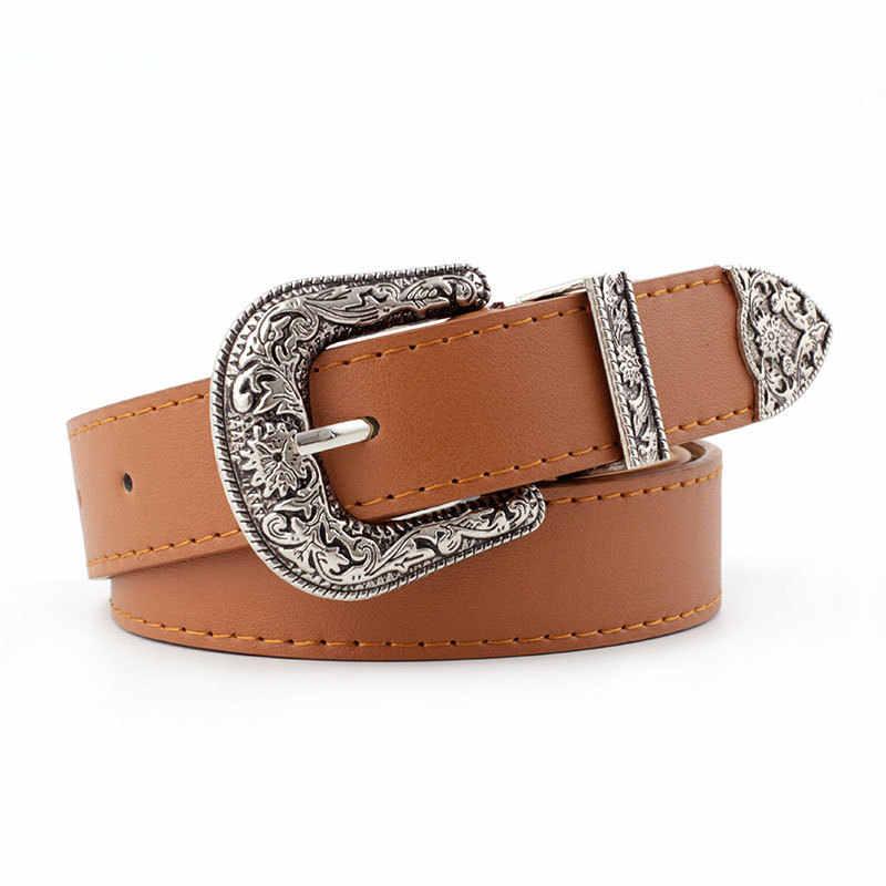 Hup cintura da donna in pelle nera da cowboy occidentale cintura con fibbia in metallo nuove cinture calde per donna Designer di lusso