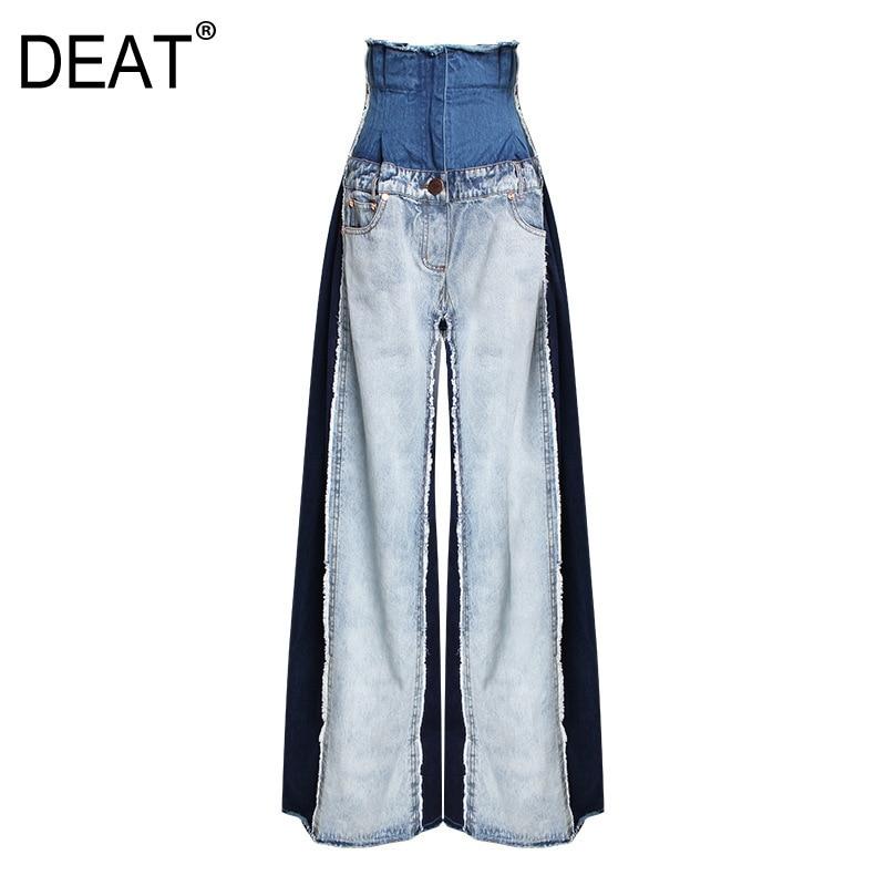 DEAT 2019 New Spring Summer High Waist Loose Hit Color Denim Pocket Blue Long Wide