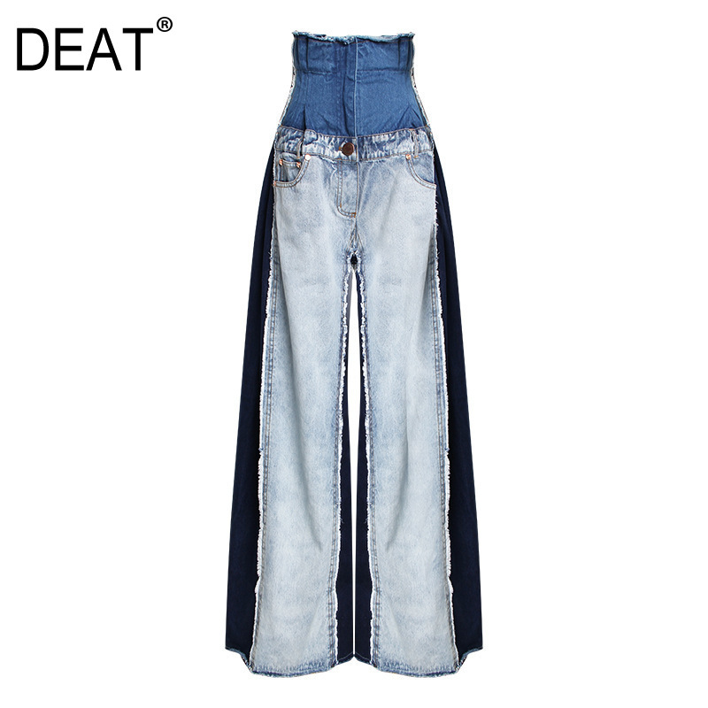 [DEAT] 2019 New Autumn Winter High Waist Loose Hit Color Denim Pocket Blue Long Wide Leg Jeans Women Trousers Fashion Tide JR84-in Jeans from Women's Clothing    1