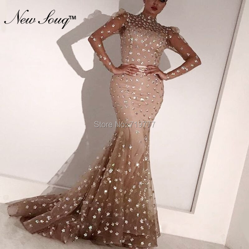 Illusion Long Sleeves   Evening     Dresses   2019 Robe De Soiree Aibye Kaftan Arabic Dubai Prom   Dress   Formal Party Gowns Custom Made