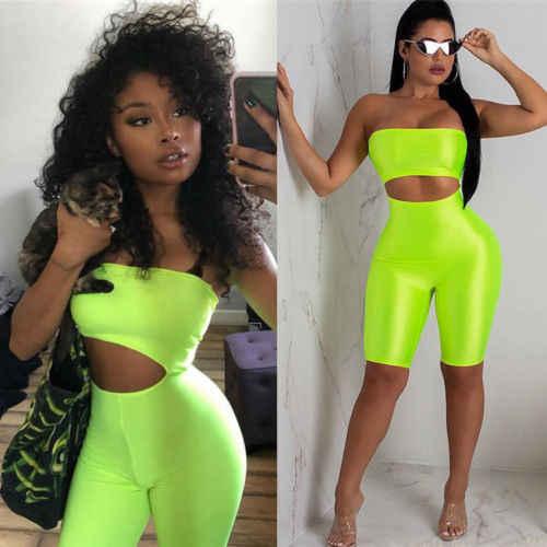 Itfabs Fashion Wanita Off Bahu Playsuit Bodycon Tanpa Lengan Jumpsuit Baju Monyet Celana