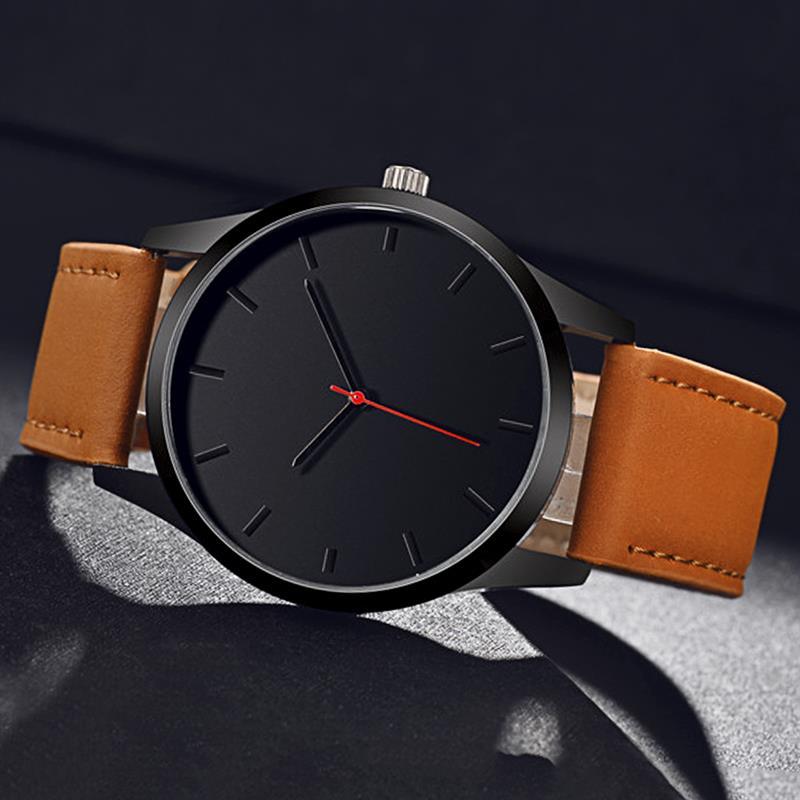 Erkek Kol Saati Luxury Watch Men's Leather Band Stainless Steel Analog Quartz Wristwatch Military Sport Black MInimalist Watches