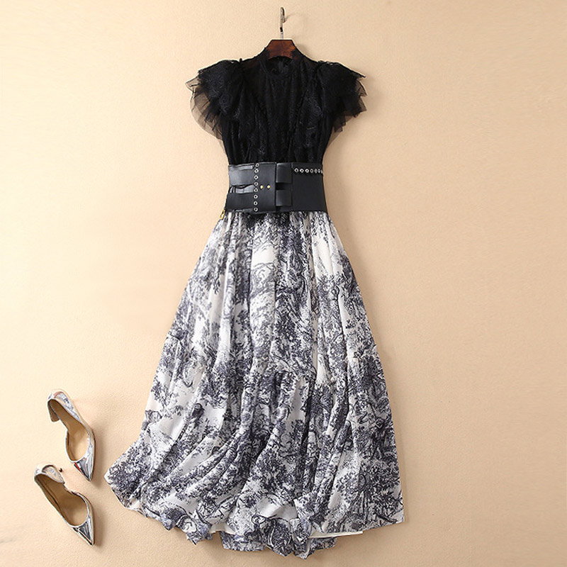 two piece women s elegant suits transparent black lace patchwork print rockabilly vintage dress exaggerated leather