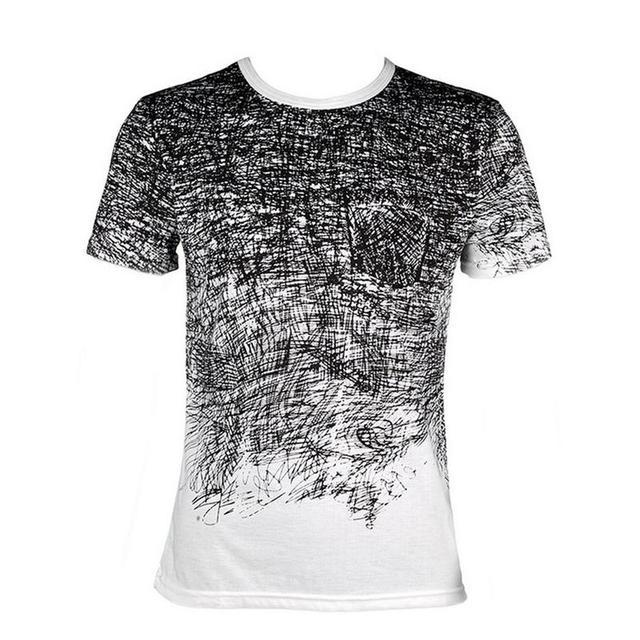 MR K Summer Autumn Men Fashion 3D Graffiti Printed O-neck Cotton T-shirt Shirt New Design Short Sleeve Tops for Casual Wear Male