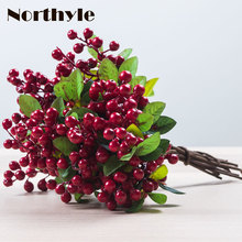 Artificial Berry Stamen Plastic Plants Home Decoration Fake Greenery DIY christmas Wreath Grass Wedding Decor