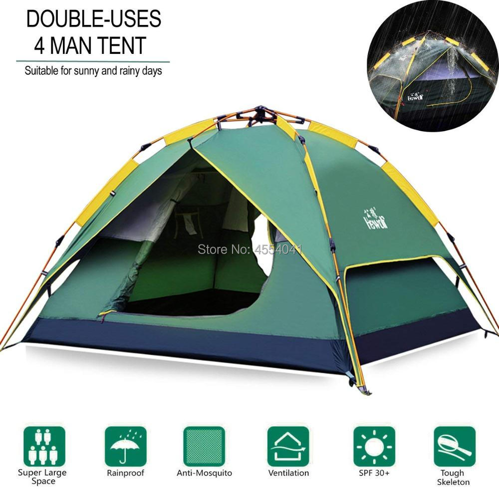 Outdoor hydraulic tent camping equipment heavy rain camping automatic tent 3 4 people three purpose dark green
