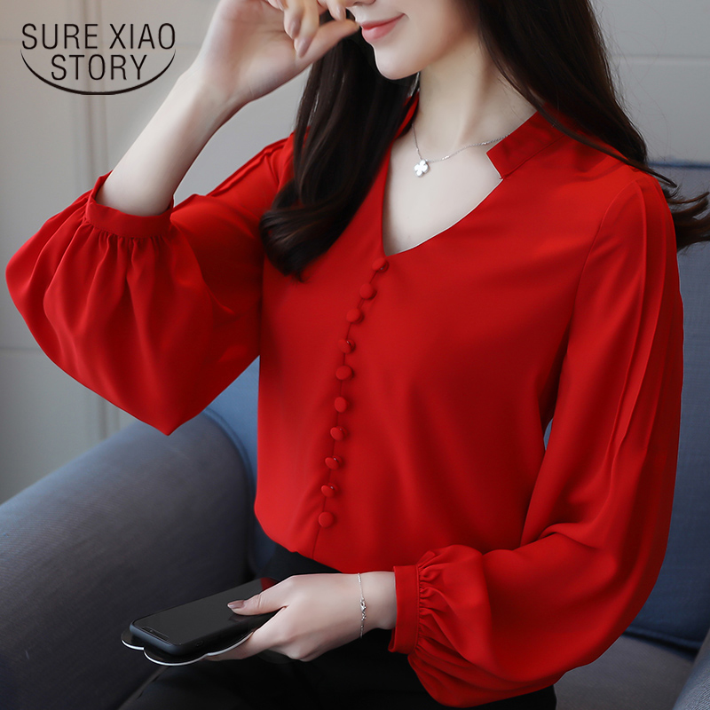 2018 new women tops solid office lady solid simple casual la