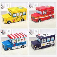 Portable Cartoon Pattern Storage Box Toy Storage Foldable Car Shaped Stool Waterproof And Moisture Control Perfect Organizer