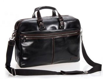 Luxury Men Leather Briefcase Business Bag Genuine male 15Laptop portfolia attache office Black