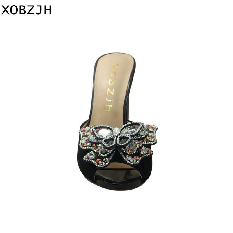 Sandalias italianas de Mujer Zapatos 2019 de lujo de cuero de marca tacones altos de Punta abierta Diamante de imitación de boda negro sandalias de diseñador zapatos de mujer