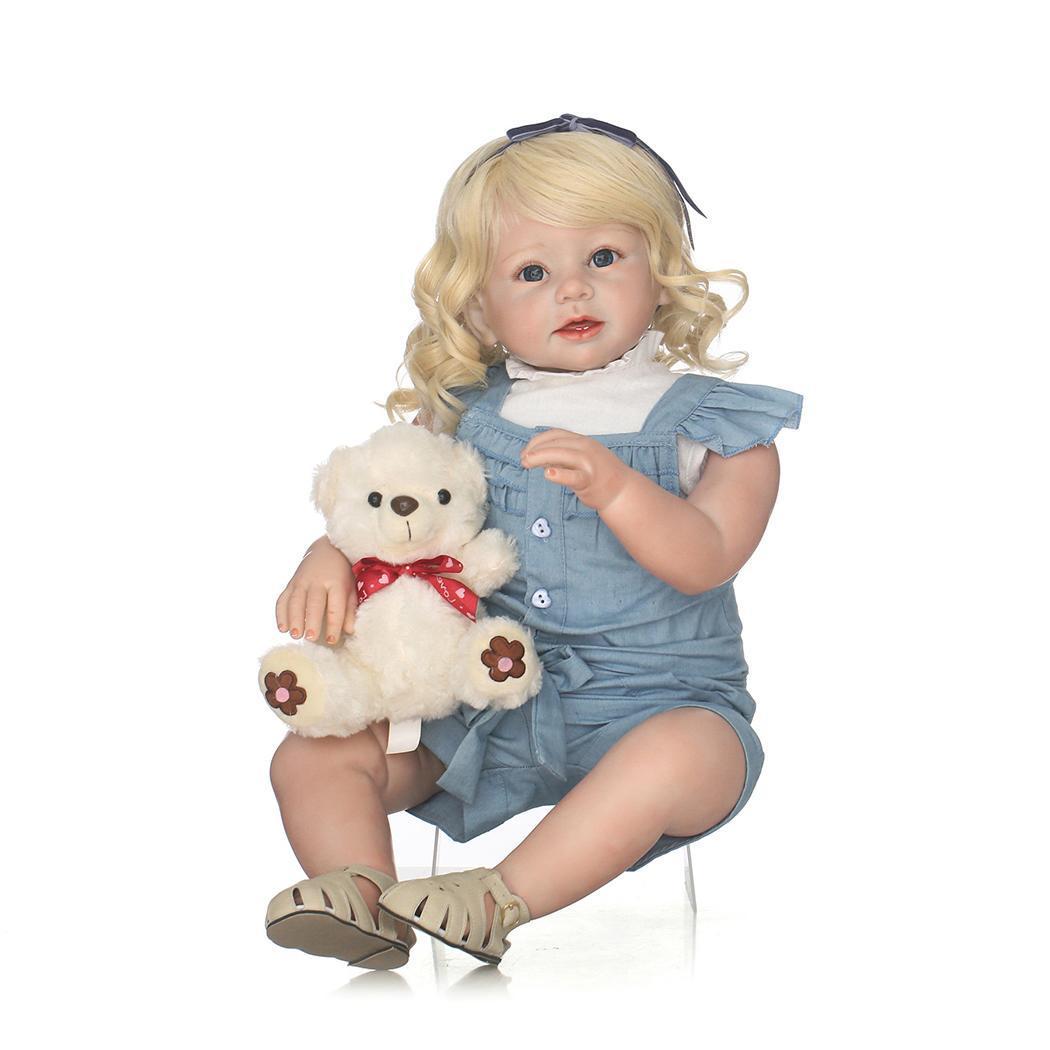 Bebe Возрожденный силикон светлые длинные локоны волос принцесса малыша кукла для маленьких девочек 24 Новое поступление для ручной работы С