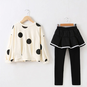 Image 2 - Kids Clothes Sets for Girls Long Sleeve Coat+ Black Color Elastic Skirt Pant Children Clothing Suits Spring Autumn 2pc 3 10 ages