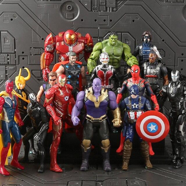 Conjunto de Brinquedos Marvel The Avengers Figura 18 centímetros de Super-heróis Batman Capitão América Thor Hulk Action Figure Collectible Modelo Boneca