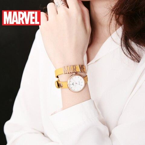 Feminino os Avengers Pulseira de Couro Pulseira à Prova Relógios de Quartzo Disney Relógio Capitão Marvel Moda Feminina Conjunto Dwaterproof Água