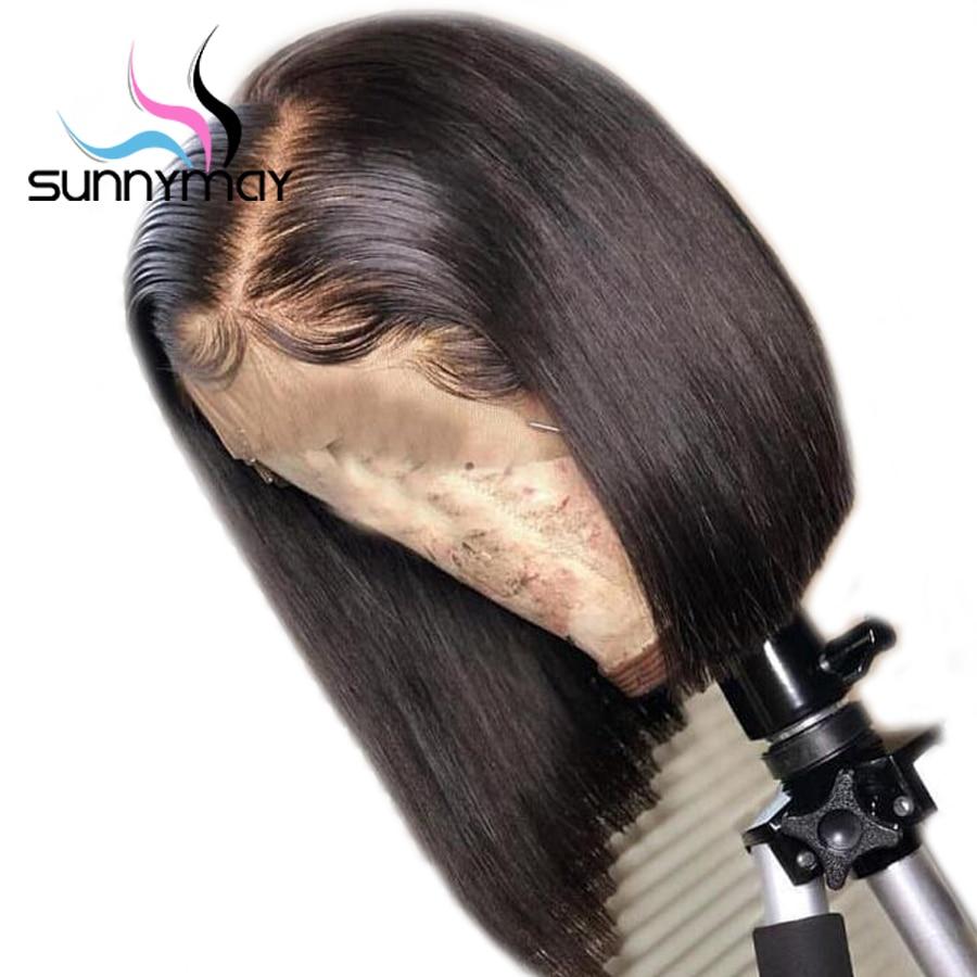 Sunnymay Bob Virgin Peruaanse Menselijk Haarkant Middenscheiding - Mensenhaar (voor zwart)