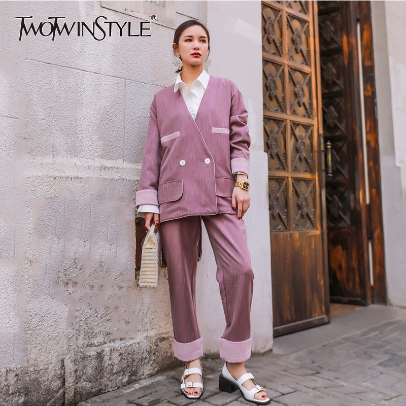 TWOTWINSTYLE Hit Color Two Piece Sets Female Long Sleeve Blazer Coat High Waist Ankle Length Pants