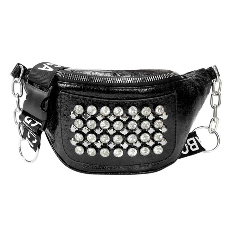 2019 Fashion Women PU Leather Fanny Pack Street Rhinestones Rivets Street Style Belt Bags Zipper Phone Purse Waist Packs