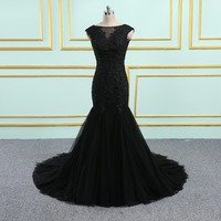 New Arrival Black prom dresses 2019 Short Sleeves Lace Backless custom made Prom dress Mermaid party gown Bridal dress