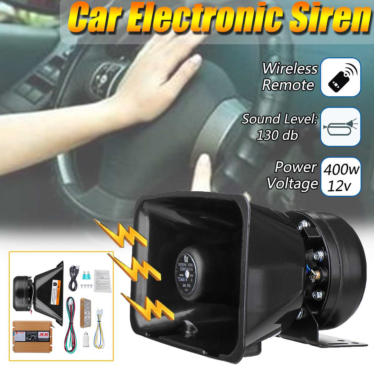 18 Sounds 400w 12v Motor Auto Car Vehicle Truck Wireless Remote Control Siren Amplifier Alarm Horn Electronic Siren Loudspeaker18 Sounds 400w 12v Motor Auto Car Vehicle Truck Wireless Remote Control Siren Amplifier Alarm Horn Electronic Siren Loudspeaker