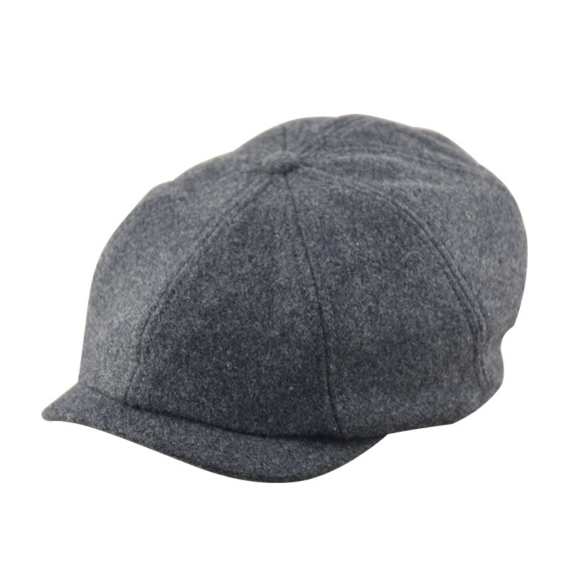 Beret-Caps Newsboy-Cap Octagonal-Hat England Wool Male Man Solid 56-58cm Big-Head Restore-Felt