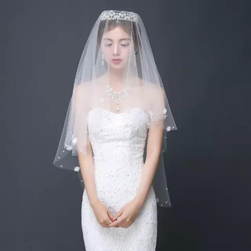 Women Hair Veil Bride Sticky Beads Flower Pearl Lace Hair Veil 1.5 Meter Bride Wedding Dress Hair Accesories