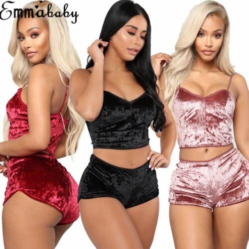 US Women's Velvet Solid Sling Slim Suits Sexy Pajamas T Crop Tops Bralette Panty Pajamas Sets Women Sleep Clothing