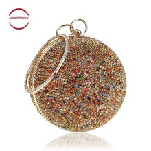 купить New Arrival Women Evening Clutch Bags Full Crystal Diamonds Round Shaped Clutches Lady Handbags Wedding Purse Chain Shoulder Bag по цене 1811.3 рублей