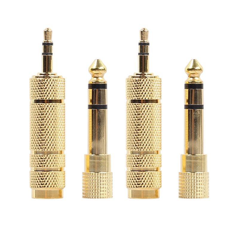 FULL-2x 6.35mm 1/4 Inch Male Plug To 3.5mm 1/8 Inch Female Jack Stereo Headphone Audio Adapter