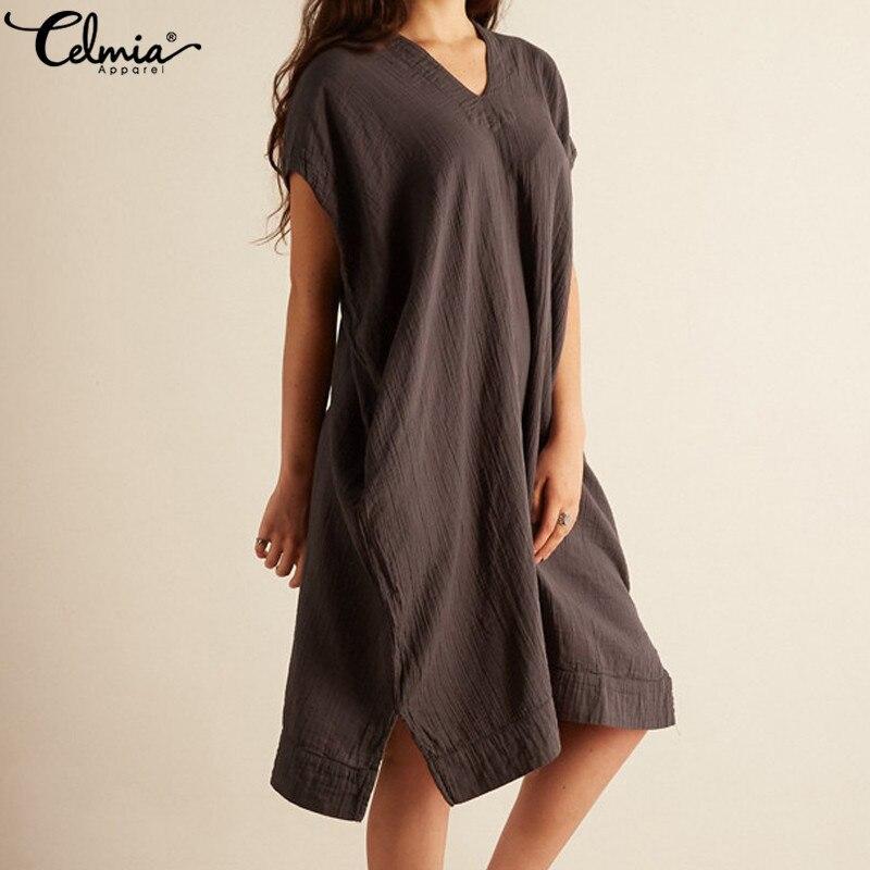 Celmia 2019 Summer Beach Shirt Dresses Women Sexy V Neck Hollow Casual Loose Vintage Linen Boho Midi Vestidos Plus Size Sundress