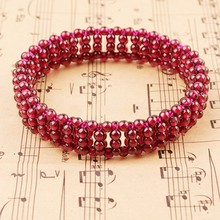 KYSZDL Natural Garnet Weave Manual Red Wine Bracelet Wcmen Crystal Fashion Jewelry Gift