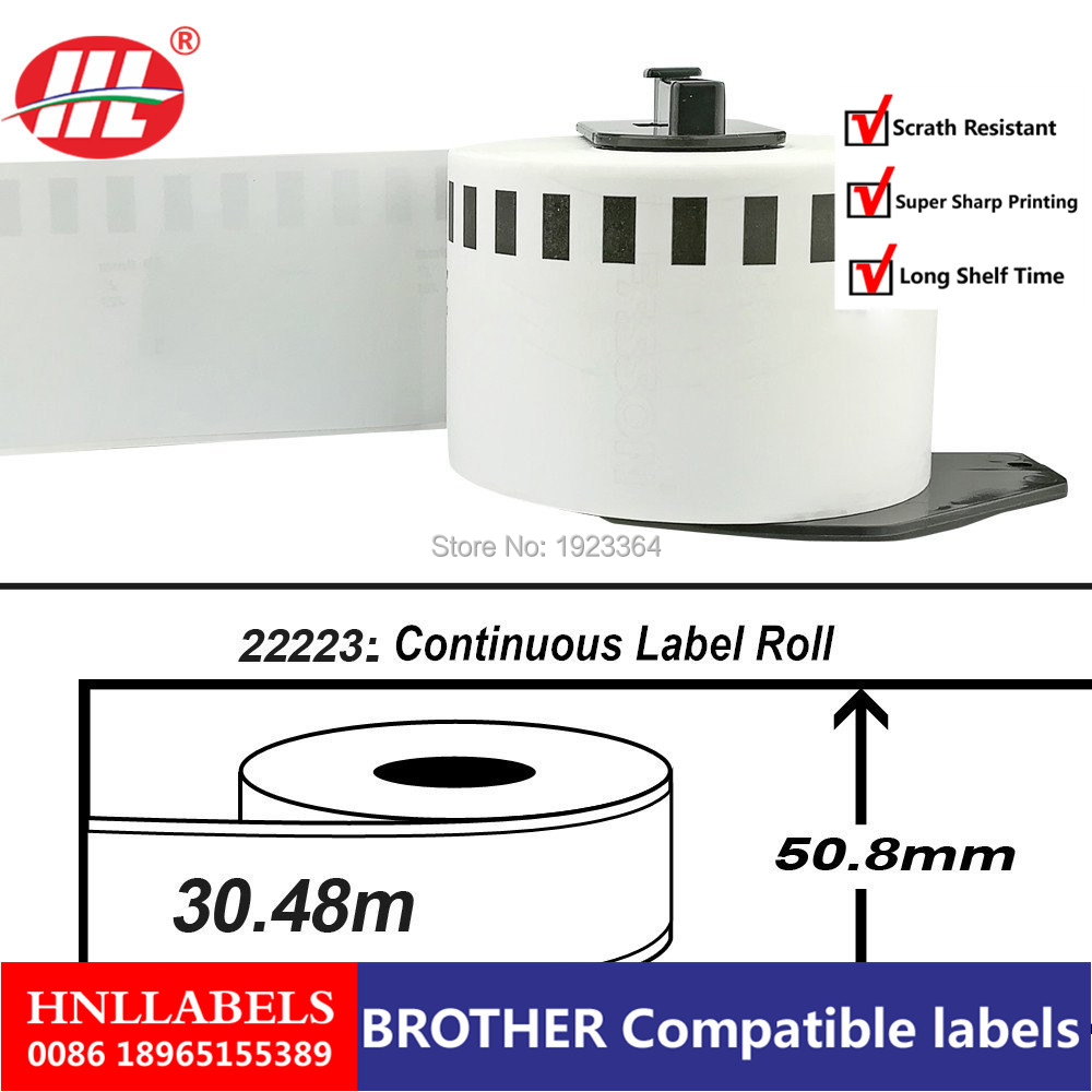 10X Rolls Brother Compatible Labels Dk22223 50 X 30.48m Dk-22223 Dk 22223 Thermal