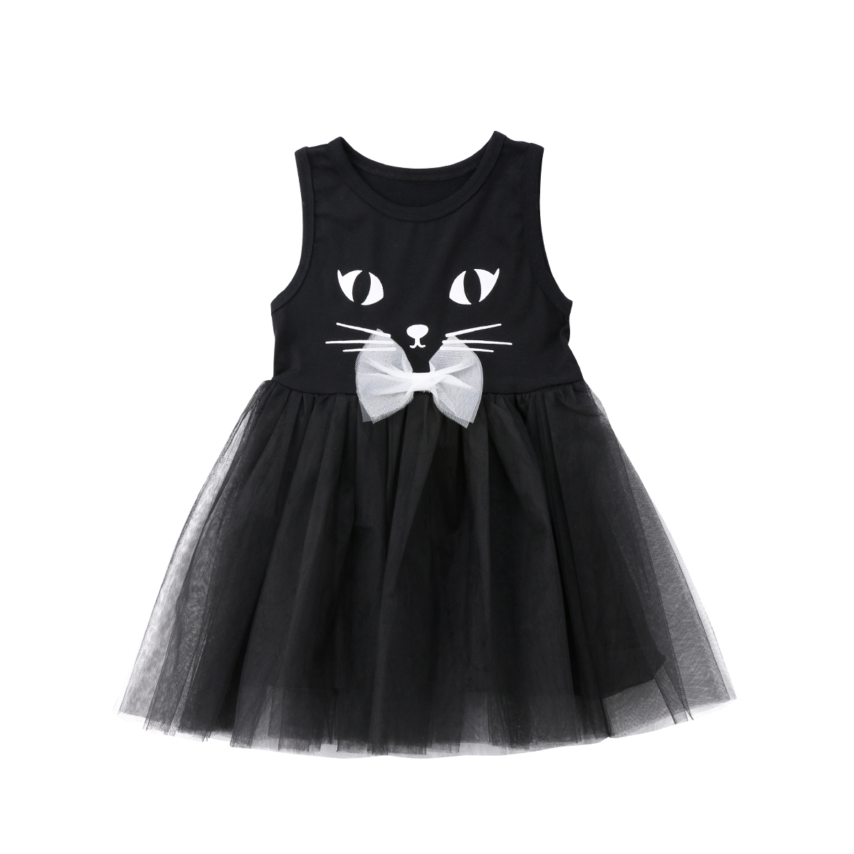 Dresses Princess-Dress Formal Girl Tutu Lace Party Wedding-Pageant Cat 3D Kid Size-2-7t