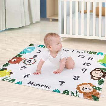 Baby Monthly Milestone Blanket Premium Fleece Pat With Wreath Frame Girl Infant Newborn Month Blanket Baby Shower Gift