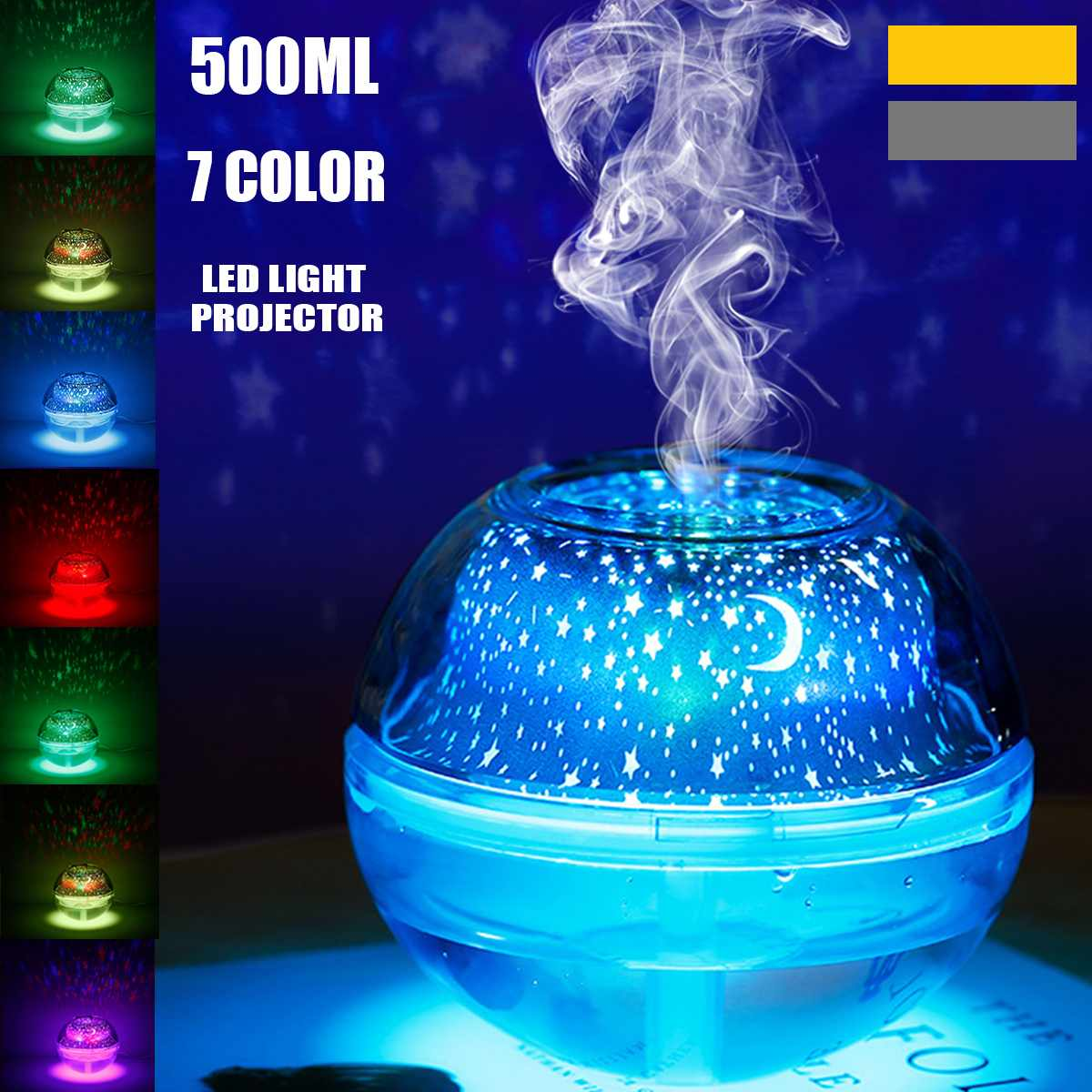 7 LED Color 500ml Projector Air Humidifier Essential Diffuser Aromatherapy Home Purifier Desk Night Lamp USB Home Decor