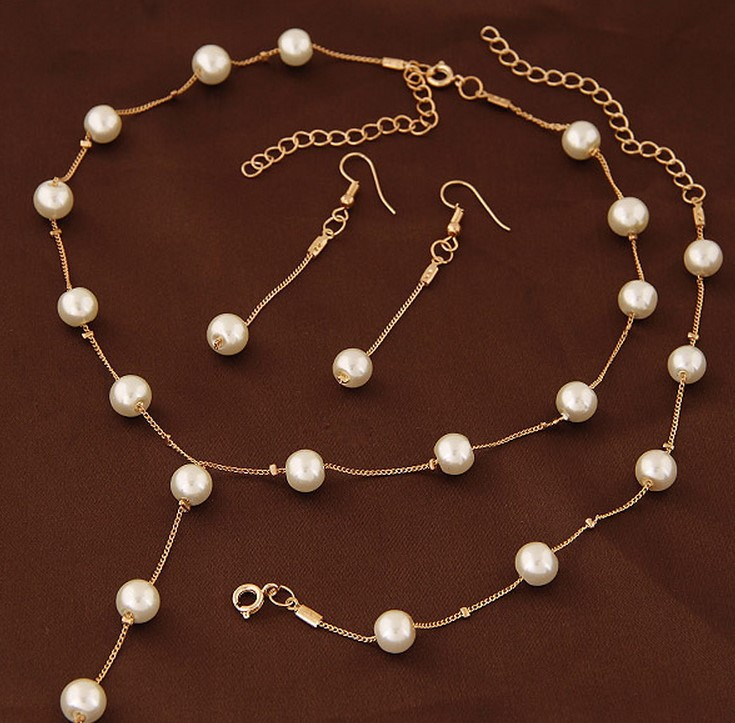 Simulated Pearl Fashion Jewelry Set For Women Girl Wedding Statement Necklace Earrings And Bracelet Set Party Jewellery 2021 3