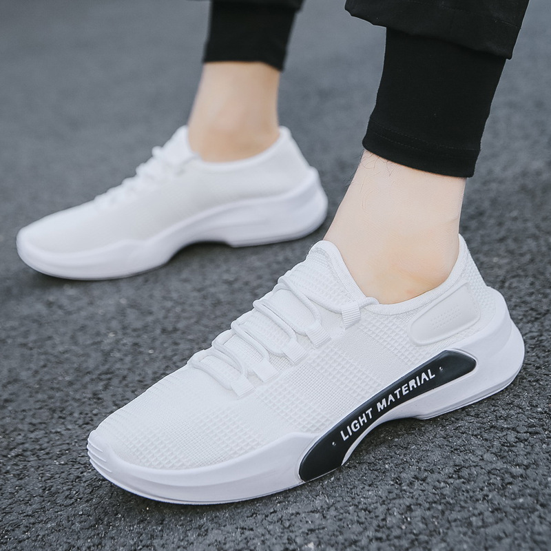 New 2019 Men Causal Shoes Breathable Mesh Tenis Shoes High Quality Male Shoes Black White Sneakers Men Footwear yeezy boost 350 v2 lundmark reflective