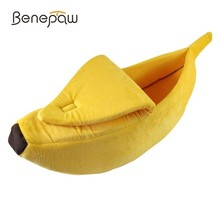 Benepaw Banana Shape Dog Beds For Small Dogs Warm Short Plush Cat House Soft Cozy Puppy Pet Bed Yellow Green Pink