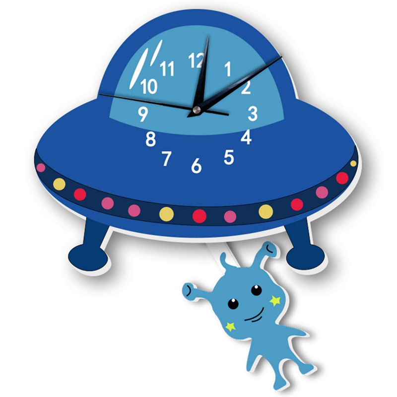 Best Selling Cartoon Silent Alien Swing Wall Clock Stickers For Kidroom Babyroom Corridor Bedroom Decoration