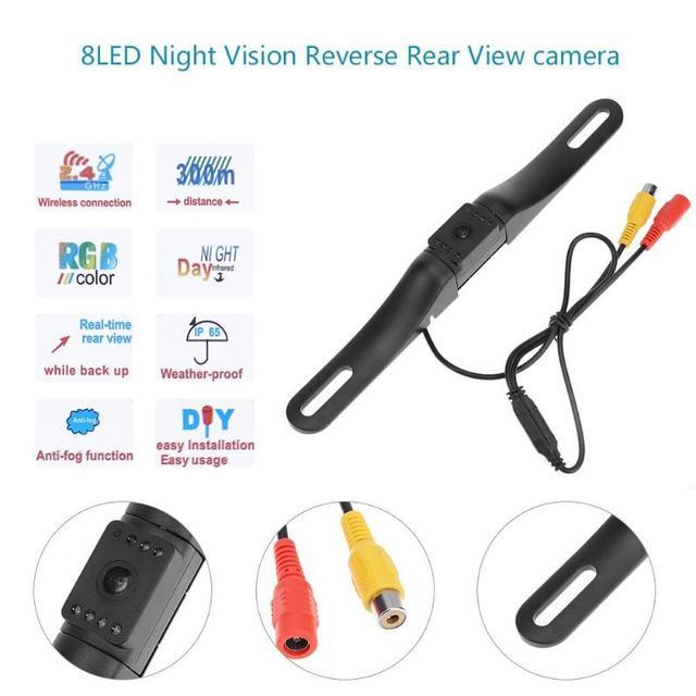 Car License Plate Frame Mount Rear View Camera Waterproof 8LED HD Night Vision Auto Parking Backup Camera Reversing Image