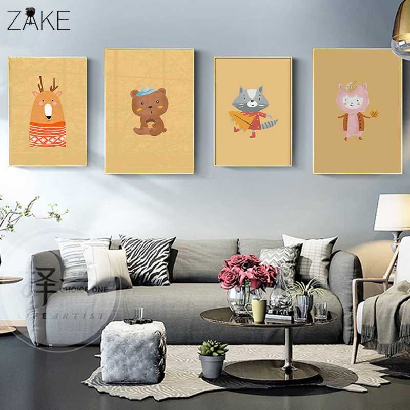 Kawaii Bear Fox Canvas Art Posters Woodland Animal Cartoon Nursery Prints Painting Wall Picture Baby Room Decoration in Painting Calligraphy from Home Garden