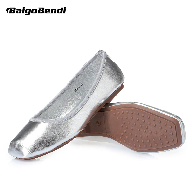 34 41 Ladies Comfort Square Toes Flats Gold Silver Metal SLIP ON Loafer Womens Ballerina Flats Gilrs Summer Shoes Light Weight