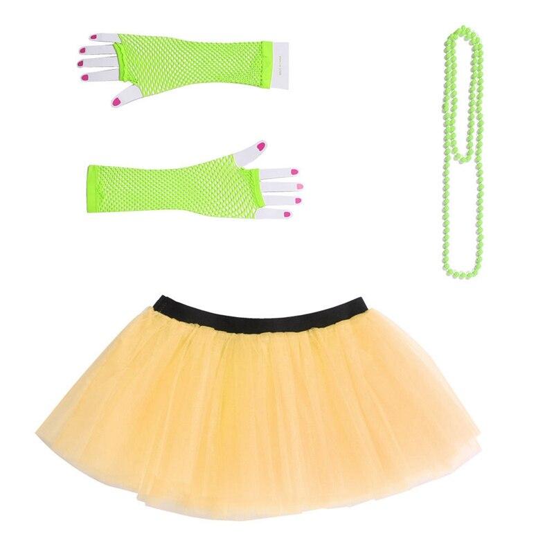 New 2020 Women Neon UV Tutu Skirt Fishnet Gloves Beads Hen Fancy mesh Ball Gown Costumes Mini Skirts