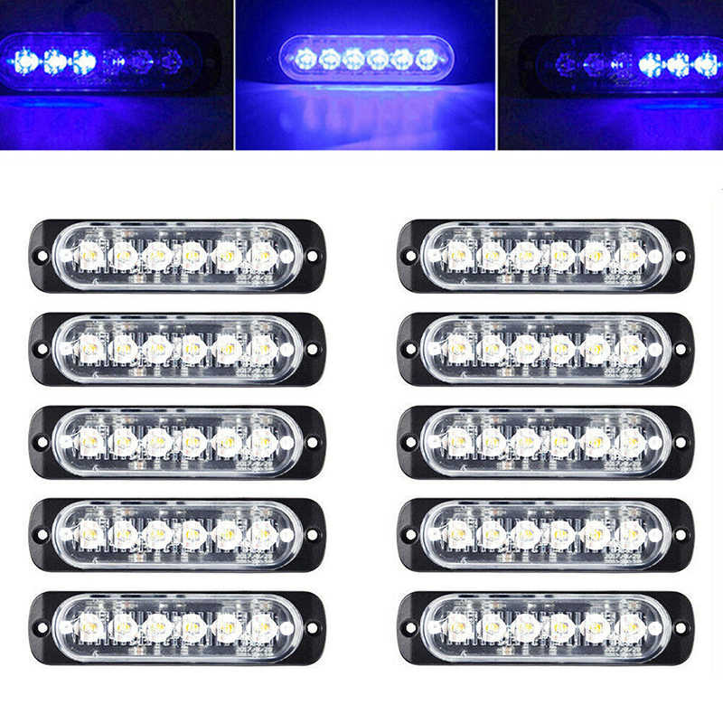 18 W-24 V DC 12 V 6 LED 10 pc emergencia advertencia Flash estroboscópico barra de luz Kit duradero
