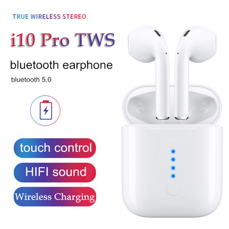 i10 Pro TWS Bluetooth 5 0 Wireless Earphones Touch Control Wireless Charging Earbuds for iPhone Sony