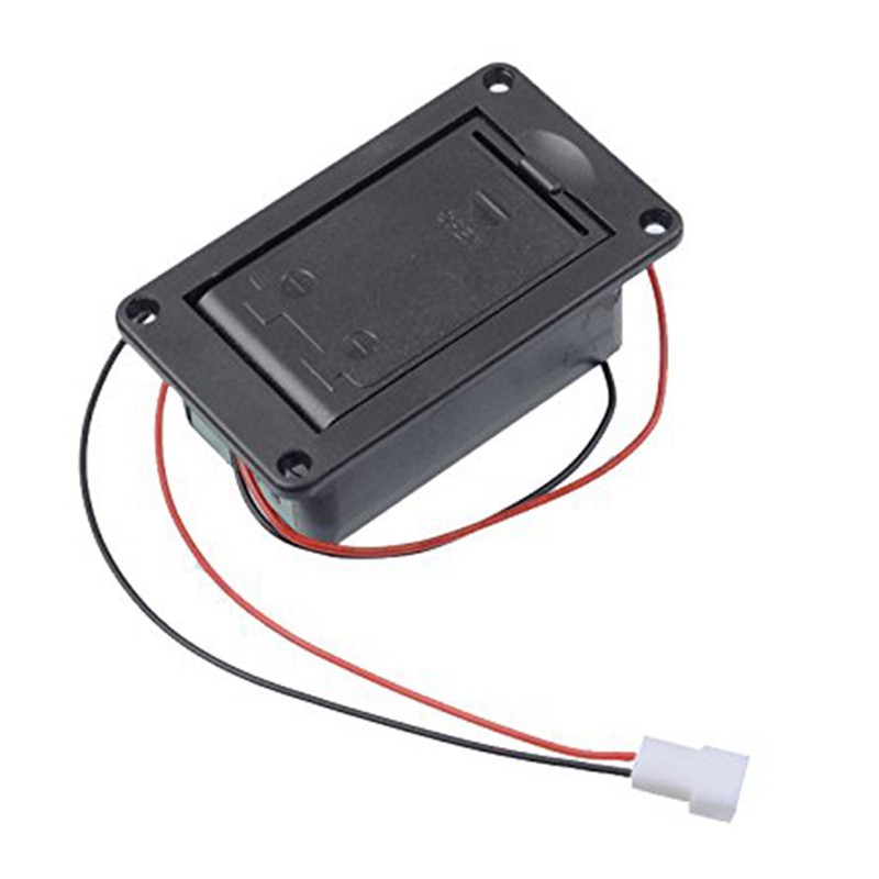 Active Bass Guitar Pickup 9V Battery Boxs/Holder/Case/Compartment Cover With Metal Contacts Spring And 2 Pin Plug With Cable